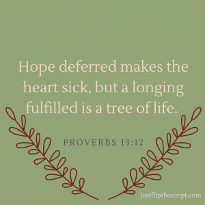 Hope deferred makes the heart sick, but a longing fulfilled is a tree of life. Expect the best possible outcome!